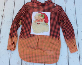 Small Santa Distressed Bleached Shirt, distressed plaid shirt with Vintage Santa Claus JE431