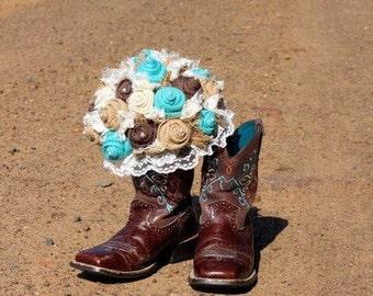 Jade / Aqua / Turquoise Burlap Bouquet, Rustic, Burlap and Lace Bridal, Bridesmaid Bouquets, Custom Wedding Arrangements with Fabric Flowers