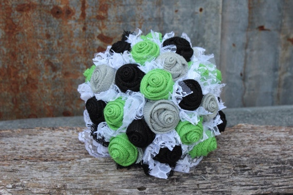 Lime Green Black and Gray Burlap and Lace Wedding Bouquets | Etsy