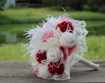 Red, Pink, and Cream  Burlap and Lace Wedding Bouquets Bridal Bouquet for rustic, prairie style, country wedding