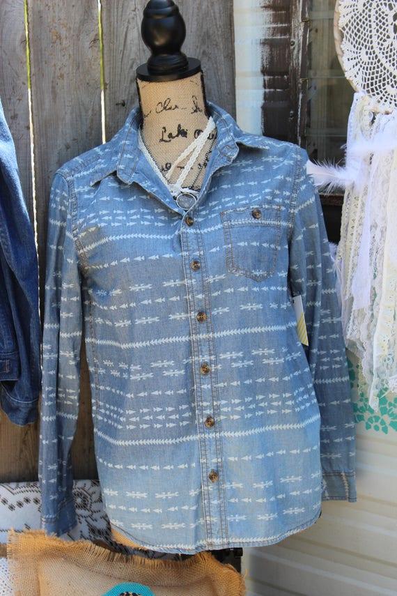 8025ee717d9 Ombre Denim Shirt with Arrows Arrow Shirt Long Sleeve Shirt