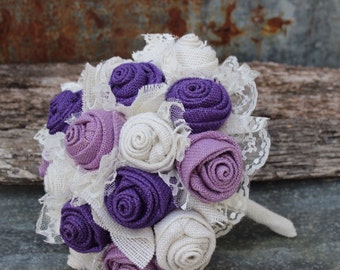 Purple and Lavender Burlap and Lace Wedding Bouquets Bridal Bouquet for rustic, prairie style, country wedding
