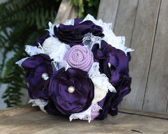 Purple, lavender, and white satin, burlap and lace bridal bouquet, fabric bride's bouquet, rustic wedding flowers, pearls, ready to ship