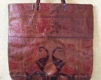 a5432e8087 Vintage hand tooled leather bag India elephants