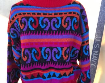 1980's turtleneck sweater large