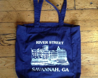 Vintage Savannah Georgia River Street canvad tote bag