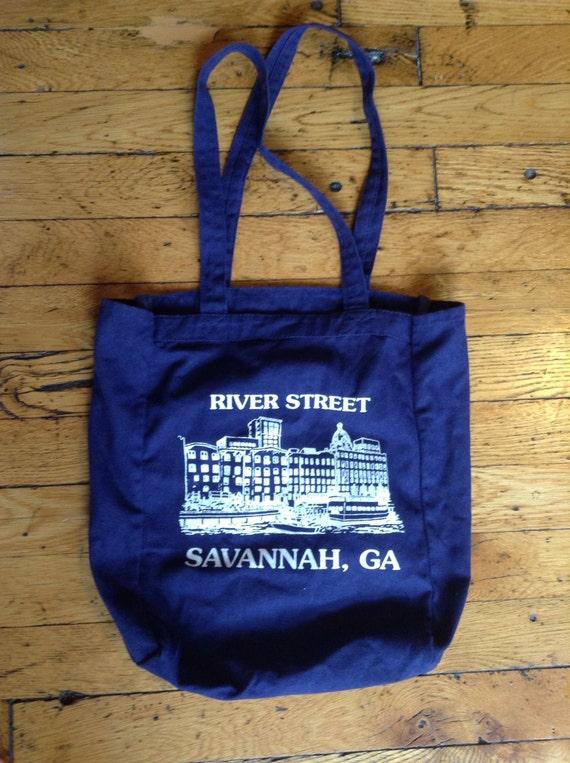 5e27684a4cbe4 Vintage Savannah Georgia River Street canvad tote bag