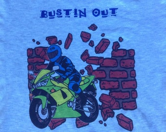 Vintage Bustin Out motorcycle t shirt USA large