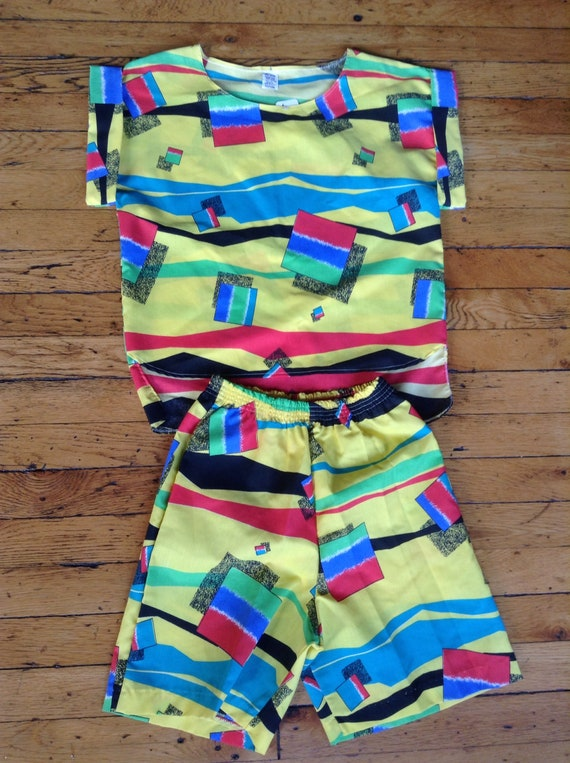 1980's two piece shorts and shirt top combo USA me