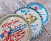 Repurposed Vintage Cottage Cheese Lids Set of Three Coasters
