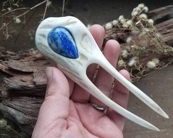 Lapis Lazuli Gemstone Antler Hair Fork Horn Bone Bun Pin Hair Jewelry