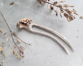 Deer Horn Antler Hair Fork Woodland Bone Carved Hair Jewelry Natural Stick Pick Bun Holder