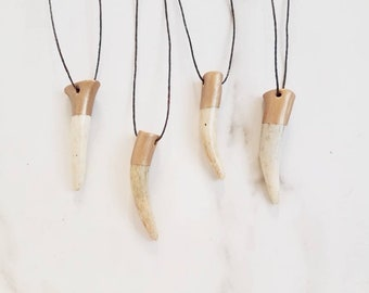 Antler Tip Necklace Deer Horn Boho Bohemian Jewelry Gold Dipped