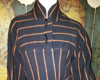 Black and Brown Wool Bonwit Teller Coat with Pockets