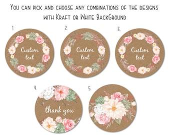 "Custom Round Stickers - Favor Stickers - Handmade Stickers - Custom Stickers - Flower Stickers, 1.5"" or 2""  Set of 24"