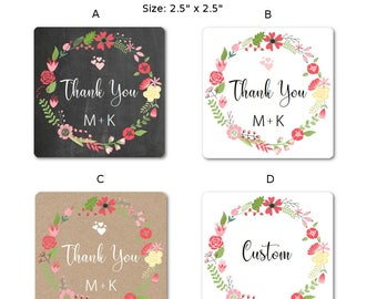 Thank You Stickers - Thank You Labels - Custom Stickers - Chalk Board Thank You - Personalized Stickers - Favor Stickers,  Set of 24