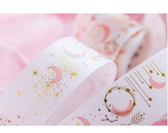 Gilded Washi Tape - Fairy Washi Tape - Pink and Gold Washi - Moon and Star Decal, 35mm x 5m