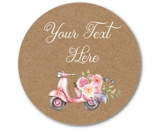 "Custom Labels - Floral Stickers - Custom Wedding Stickers - Custom Product Labels - Pink Roses - 1.25"", 1.5"" or 2"""