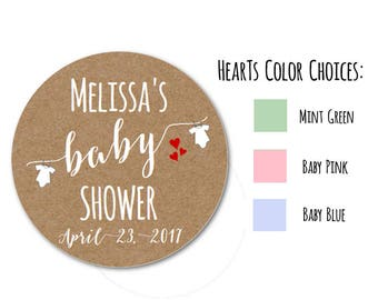 Baby Shower Stickers, Baby Shower Labels, Custom Stickers Set of 24