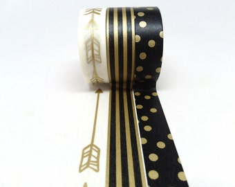 Gold Arrow Black And Gold Stripe Black And Gold Polka Dot Washi Tape Set Of 3
