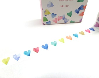 Hearts Washi Tape - Narrow Washi Tape - Thin Washi Tape - Watercolor Washi Tape,  1 cm x 7m