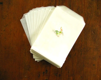"""Plain Glassine Bags - Packaging Bags - Favor Bags - Soap Bag - Food Bag, Set of 50 (3.25"""" x 4.75"""")"""