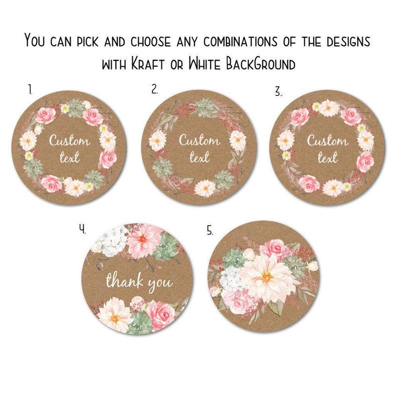 Custom Round Stickers - Favor Stickers - Handmade Stickers - Custom  Stickers - Flower Stickers, 1 5