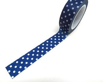 Blue Washi Tape - Polka Dot Washi Tape 15mm x 10m
