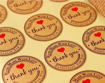 Kraft Handmade Stickers, Kraft Thank You Sticker, Set of 24