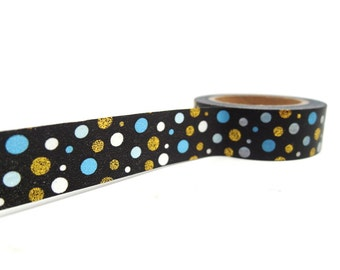 Blue and Gold Polka Dot Washi Tape