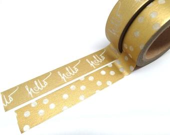 Hello - Gold Washi Tape - Gold Polka Dot Washi Tape Set of 2, 15mm x 10m