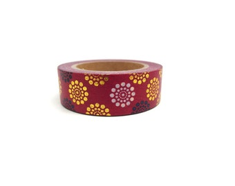 Floral Washi Tape, Burgundy Washi Tape