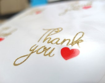 Gold Glitter Embossed Thank You Stickers, 2 Inch Circles, Set of 24