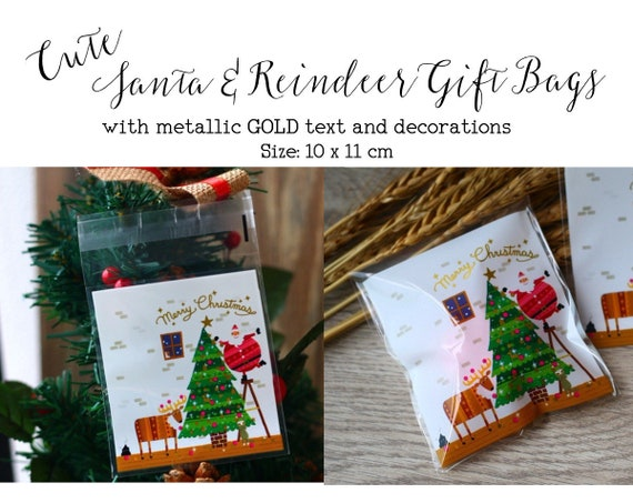 Cute Christmas Gifts Holiday Cookie Party Christmas Cookie Bags Christmas Candy Bags Christmas Packaging Small Gift Bags