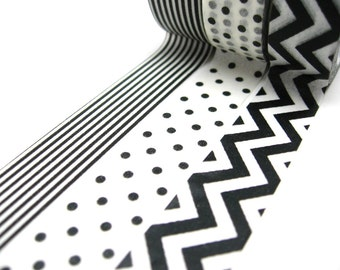 Black and White Polka Dots, Chevron Washi Tape Set of 3