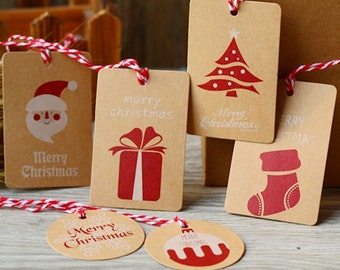 Christmas Gift Tags, Christmas Tags, Kraft Tags, Red and White Twine Included, Set of 20