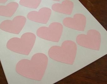 "Large Pastel Pink Heart Sticker, Light Pink Heart Labels 2.275"" x 1.8"" - Set of 30"