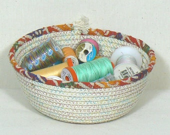 Catchall Basket, Coiled Rope Basket, Washable Food Basket, Bread Basket, Desk Organizer, Fiber Art Basket, Storage Basket, Kitchen Basket