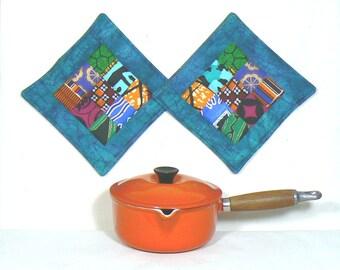 Quilted Potholder, Quilted Mug Rugs, Fabric Snack Mat, Candle Mat, Modern Potholders, Patchwork Mini Mats, Housewarming Gift, Art Potholder