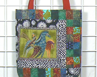 Artistic Tote Bag with Ultrasuede Handles  is a stylish quilted Fabric Tote,  made with Art Quilt Panels and can be used as a Shoulder Bag
