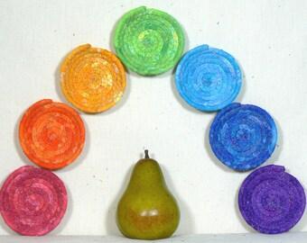 Chakra Crystal Bowls, Chakra Baskets, Set of Seven Baskets, Rainbow Colored Bowls, Tiny Coiled Baskets, Nesting Baskets, Ring Keeper Baskets