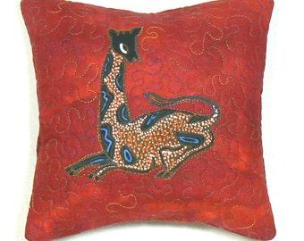 Accent Pillow, Primitive Applique, Decorative Mini Pillow, Quilted Pillow, Easel Pillow, Bookshelf Decor, Appliqued Pillow, Throw Pillow