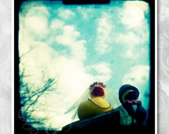 Bride and groom yellow ducks signed ttv photograph. Wedding or anniversary gift or decor. Wedding ducks against blue sky