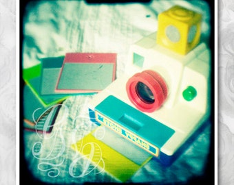 1980s colourful toy camera, vintage style wall print. Signed ttv photograph. Cool nursery decor. Gift for a photographer