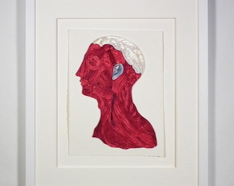Quilled neck and head, Fine art anatomical diagram, framed quilled fine art, doctor decor