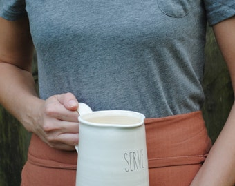handmade white functional LARGE pitcher with custom text, housewarming gift