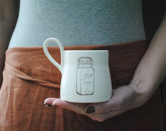 handmade white comfy coffee or tea mug with ball jar graphic under 30