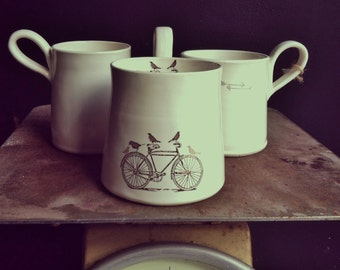 handmade white comfy coffee or tea graphic modern mug.by nelle design under 30
