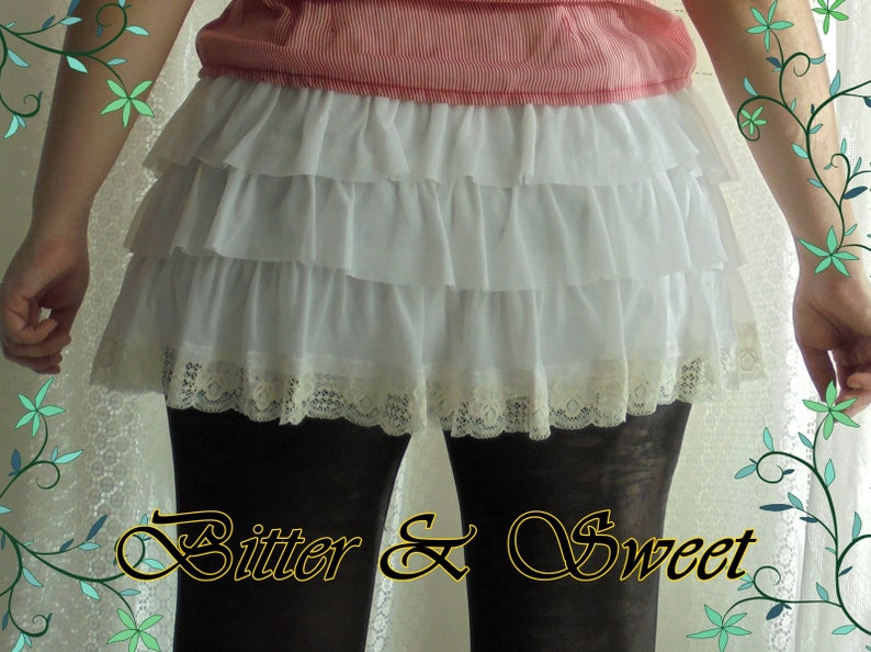 Mini short bloomers with frills and lace in tulle lycra Steampunk-Gothic Lolita-Cabaret-Victorian-Burlesque-Cow Girl-Ranchers-Bitter /& Sweet