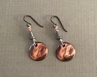 Antique Copper Mixed Metal Dangle Earrings